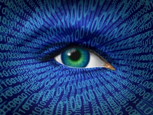 Technology security and Internet safety and privacy issues with a human eye and digital binary code as surveillance of hackers or hacking from cyber criminals watching prohibited private access to web sites with firewalls.